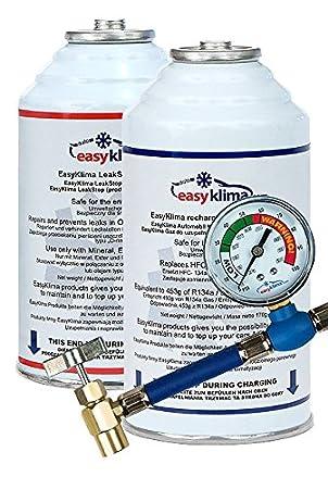 EasyKlima.com Starterkit R134a+LeakStop (Sellador) A/C equipo para reparar i rellenar su aire acondicionado en su coche: Amazon.es: Coche y moto