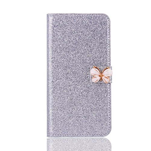 Price comparison product image Stand Wallet Card Case Cover,Elaco Women Iphone Case For iPhone 6/6s 4.7 inch /For iPhone 6 Plus 5.5inch/ iPhone 7 4.7inch/iPhone 7 Plus 5.5inch (Silver, iPhone 6 Plus/6s Plus 5.5inch)