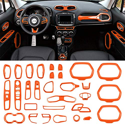 Danti Car Interior Accessories Decoration Trim Air Conditioning Vent Decoration & Door Speaker & Water Cup Holder & Headlight Switch & Window Lift Button Covers for Jeep Renegade 2015-2020 (Orange)