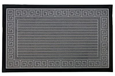 "Trenton Sculpted Polyester Doormat. Non-Slip 18"" x 30"" Superior Scraping and Absorbing Entrance Welcome Mat with Greek Scroll Woven Pattern. By Home Fashion Designs Brand."