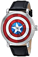 Marvel Men's W001770 The Avengers Captain America Analog-Quartz Black Watch