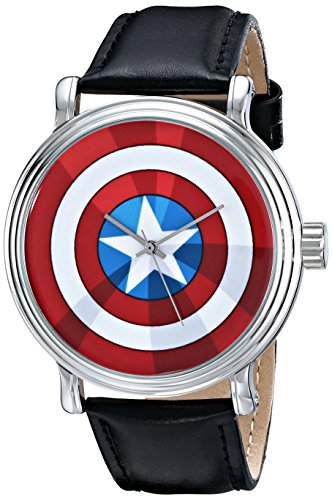 (Marvel Men's W001770 The Avengers Captain America Analog-Quartz Black Watch)