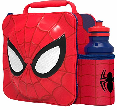 Marvel Spider-man 3d Lunch Bag And 500ml Bottle Set With 2-piece Snack Box