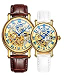 Binger Couple Watches Mechanical Skeleton Gold Dial Stainless Steel Leather band for His or Her (Brown White)