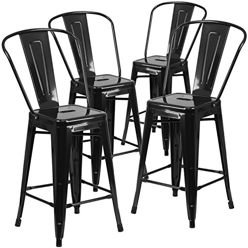 Flash Furniture 4 Pk. 24'' High Black Metal Indoor-Outdoor Counter Height Stool with Back (Counter Sets Height Outdoor)