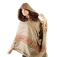 Poncho para mujer hecho a mano con cachemir simplemente Mocca Marron, con capucha y bolsillos grandes, Tribal Earthy Festival Gypsy AJJAYA Nomadic primitivo mexicano