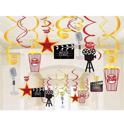 Stechop Movie Night Party Supplies, Hanging Swirl Decorations,