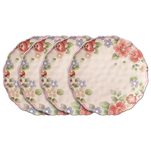 Pfaltzgraff Tea Rose Melamine Outdoor Dinner Plates, Set of 4
