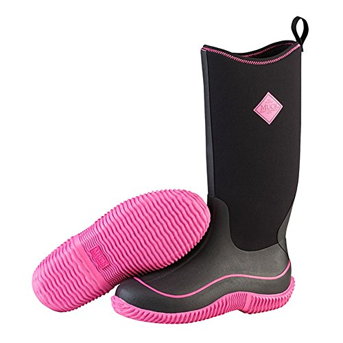 Muck Boots Hale Multi-Season Women's Rubber Boot, Black/Hot Pink, 9 M US by Muck Boot