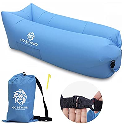 Go Beyond Outdoors Inflatable Lounger - Lazy Bag Lounge Chair with Carry Sack - Easy to Inflate with Wind - Use as Portable Hammock or Sofa Bed for Camping, Travel, Sleeping, Beach and Pool