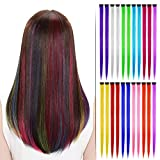 Beautymood 22 Pcs Multi-Colors Hair Fashionable Wigs Can Be Hot & Rolled Up & Cut,Colored Highlights Hair Extensions(11 Colors -Straight)