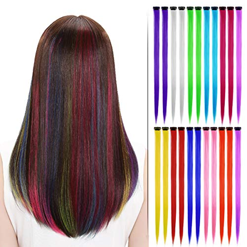 (Beautymood 22 Pcs Multi-Colors Hair Fashionable Wigs Can Be Hot & Rolled Up & Cut,Colored Highlights Hair Extensions(11 Colors)