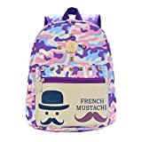Hanshu Canvas Camouflage Backpack Bags, Beard Design Tote Daypacks for Kids, Purple