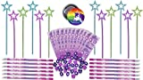 Princess Party Favor Set for 12 Kids - 12 Rainbow Wands, 12 Stationary Sets with Pencils, Erasers and Stickers - Special Rainbow Unicorn Pin - Super Fun Party Favors or Birthday Activity Set