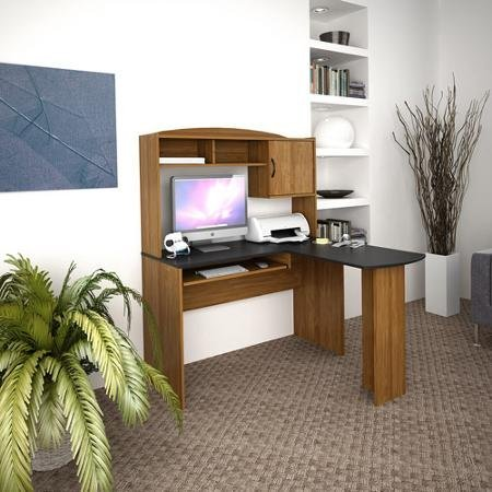 - Mainstays L-shaped Desk with Hutch, Multiple Finishes Black & Alder by Mainstays