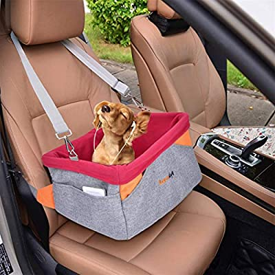 Legendog Dog Car Seat, Pet Booster Portable Travel Pet Car Seat Carrier for Dogs & Cats, Waterproof Pet Booster Carrier with Cushion & Adjustable Strap