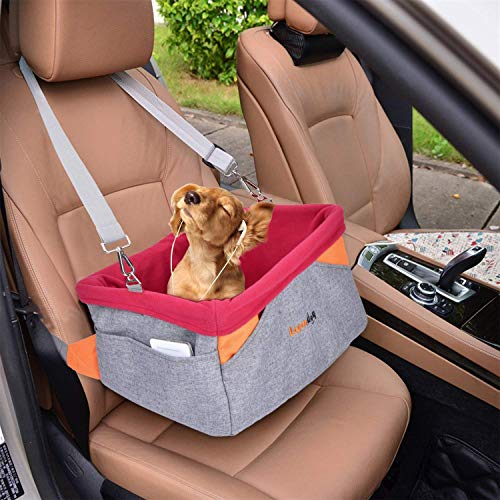 Legendog Dog Car Seat, Pet Booster Portable Travel Pet Car Seat Carrier for Dogs & Cats, Waterproof Pet Booster Carrier with Cushion & Adjustable Strap (Pet Car Seat) (Red)