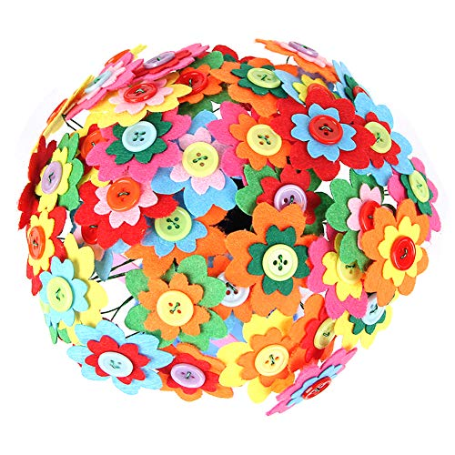 UCLEVER Assorted Color Buttons Felt Flowers Fabric Flower Embellishments for DIY -