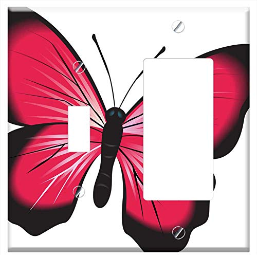 1-Toggle 1-Rocker/GFCI Combination Wall Plate Cover - Butterfly Pink Clip Art Insect Nature Natural