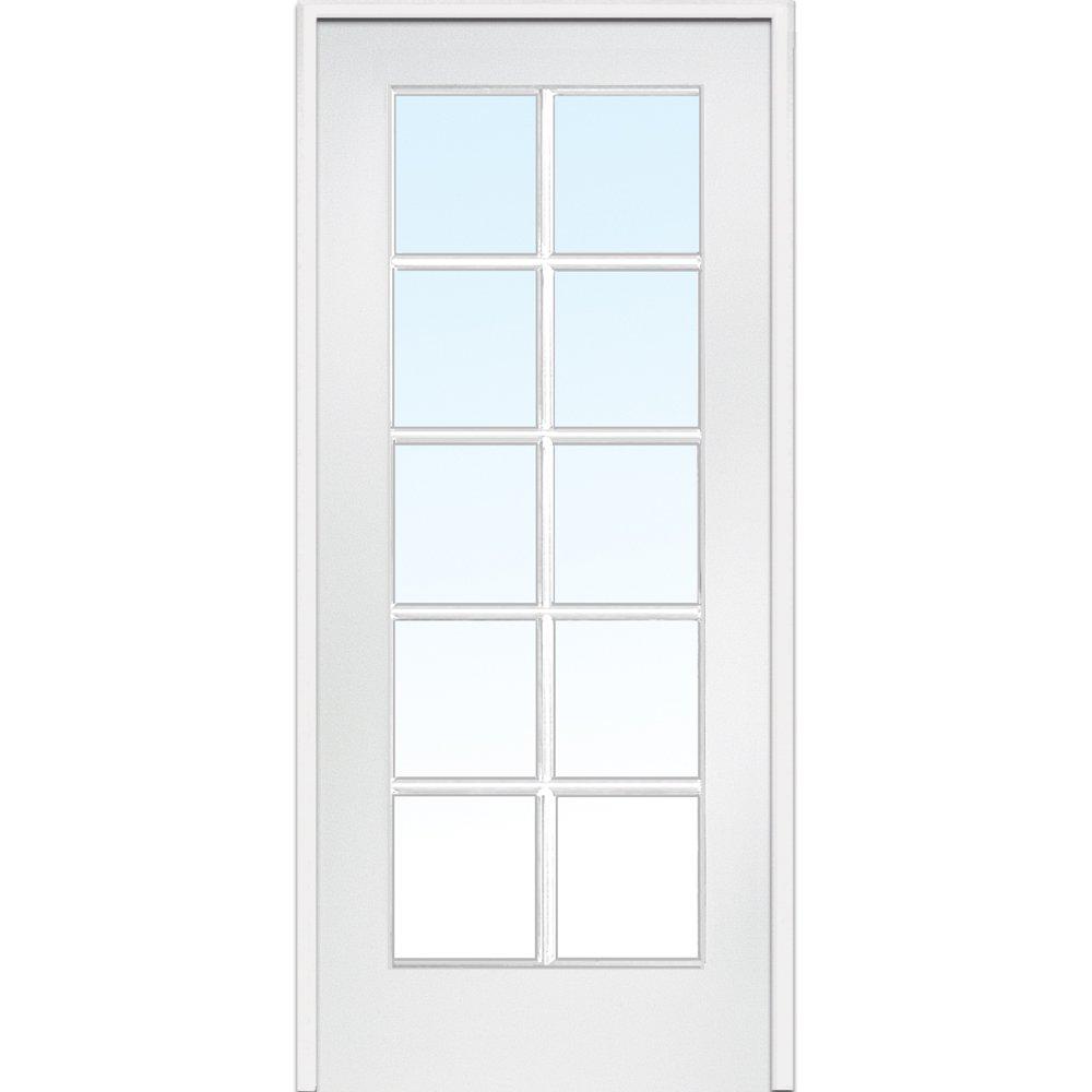 National Door Company Z009303L Primed MDF 10 Lite Clear Glass, Left Hand Prehung Interior Door, 30'' x 80''