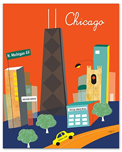 Michigan Avenue, Chicago, Illinois Print - Retro Inspired Travel Wall Art for Home and Office - sizes: 8 x 10, 11 x 14, 16 x 20, 24 x 30, 36 - Place Chicago Tower Water