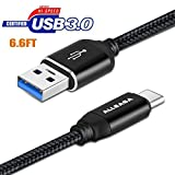 USB C CableUSB A to C Cable,(1-PACK 6.6FT) ALLEASA USB-C 3.0 Cable Nylon Braided USB Type C Fast Charger Cord for Samsung Galaxy S9, S8, S8 Plus