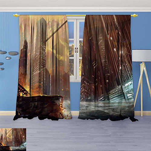 SOCOMIMI Blackout Burgundy Curtains the city after war realistic style scene wallpaper design for Bedroom/Living Room 80% Privacy Panel Drapes 72W x 108L ()