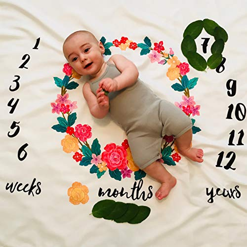 Monthly Milestone Baby Blanket Backdrop - Photography Photo Prop Growth Chart - Newborn Toddler Infant Pet Props - Floral Design by Jolly Jon
