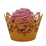 AMA(TM) 25pcs Christmas Little Vine Lace Muffin Cupcake Wrapper Liner Baking Cup Hollow DIY Paper Cake Cup (Yellow)