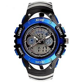 ALPS Kids Watches LED Digital Boys' Girls Waterproof Watches (Blue)