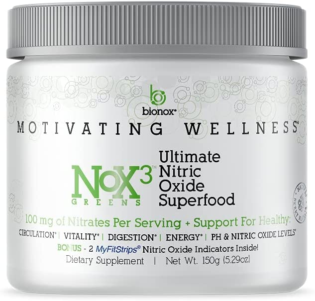Nox3 Greens Ultimate Nitric Oxide Superfood - Green NO Boosting Drink Mix Antioxidants, Arugula Extract, Green Veggies & Fruit Whole Foods For Immune, Heart Health With Spirulina, Probiotics 30 Scoops