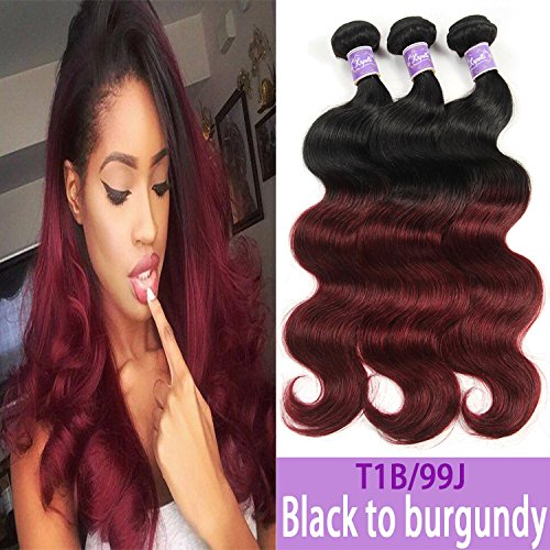 Kapelli Hair Ombre Hair Extensions Ombre Brazilian Body Wave Virgin Hair 2 Tone T1B/99J Black to Burgundy Human Hair Weave 3 Bundles (10