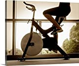 Canvas On Demand Premium Outdoor Canvas Wall Art Print entitled Woman riding exercise bike