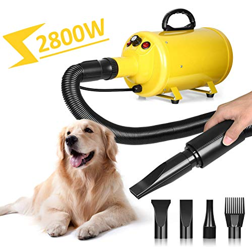 amzdeal Dog Dryer 3.8HP 2800W Stepless Adjustable Speed Dog Hair Dryer, Professional Pet Grooming Blower, Pet Hair Force Dryer with Heater, Spring Hose, and 4 Different Nozzles