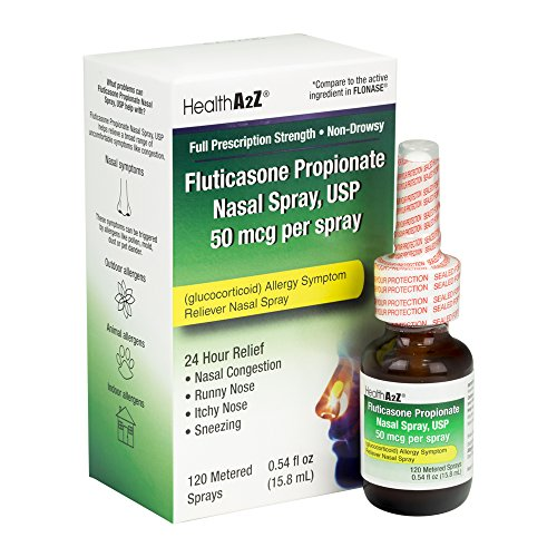 HealthA2Z Fluticasone Propionate Nasal Sprays, 24 Hour Allergy Relief,120 Sprays, 0.54 fl oz (Best Way To Sleep With A Cough)