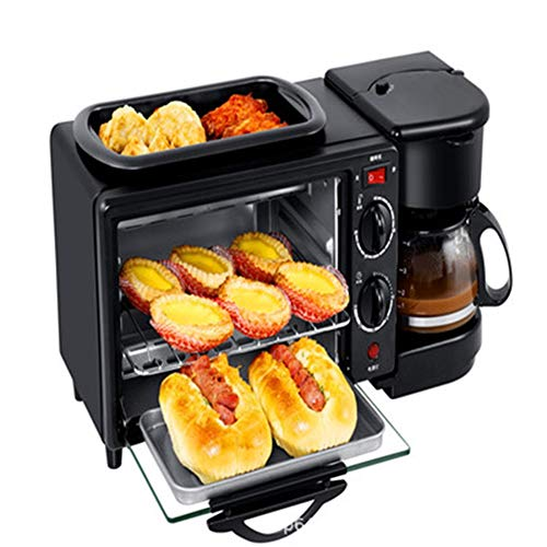 Compact Fast Breadmaker, Three-in-one Multi-function Breakfast Machine Custom Mini Electric Oven Coffee Omelette Bread Toaster, 1050W Black