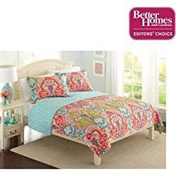 Better Homes and Gardens Jeweled Damask Bedding Quilt Collection, Full/Queen, Orange