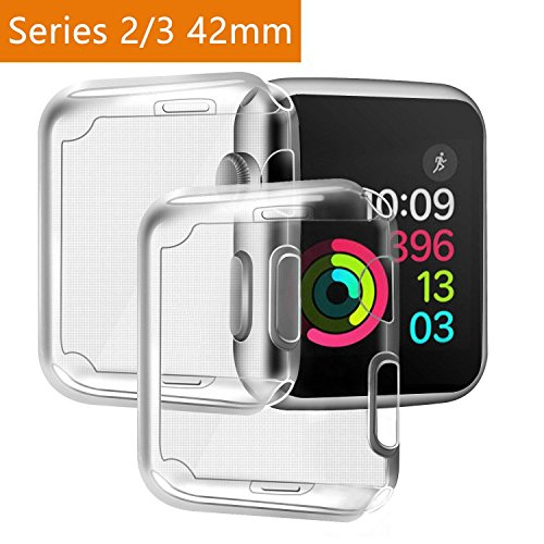 AOSHR Watch Screen Protector with Case 42mm, Soft TPU All-Around Ultra-Thin Clear Cover Watch case for Case Series 3, Series 2【2 Pack】