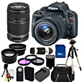 Canon EOS Rebel SL1 18.0 MP CMOS Digital SLR Kit with 18-55mm EF-S IS STM Lens and Canon EF-S 55-250mm f/4-5.6 IS II Lens. Includes: 0.45X Wide Angle Lens + 2X Telelphoto Lens + 3 Piece Filter Kit (UV-CPL-FLD) + 32GB Memory Card + Card Reader + Slave Flash + Wireless Remote + Extended Life Replacement Battery + Charger + Full Size Tripod + Carrying Case + Deluxe Starter Kit Sunset Electronics Bundle, Best Gadgets