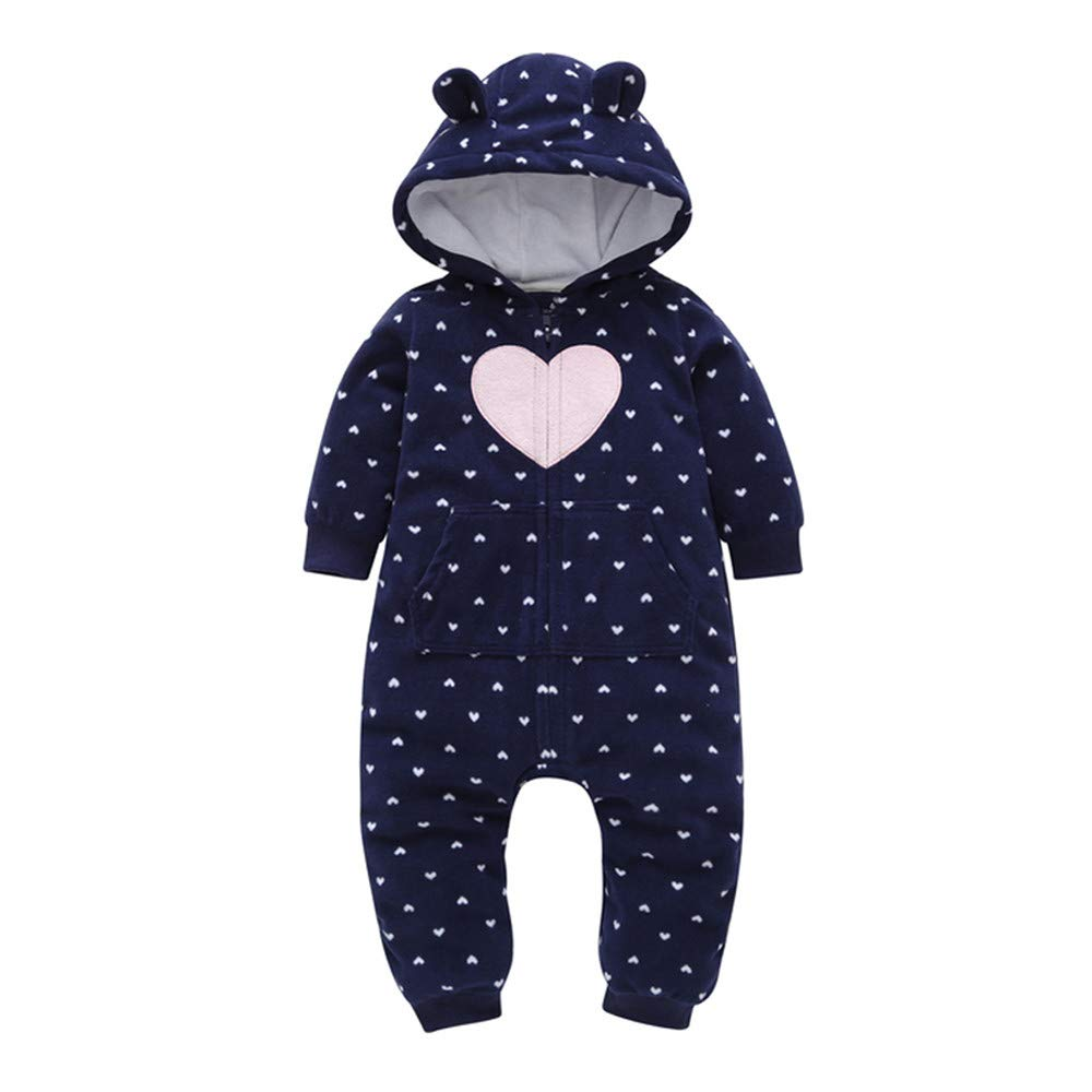 AMSKY Clearance Sale Infant Baby Boys Girls Fleece Thicker Hearts Hooded Romper Jumpsuit Pajamas Winter Warm Clothes Outfits pants57