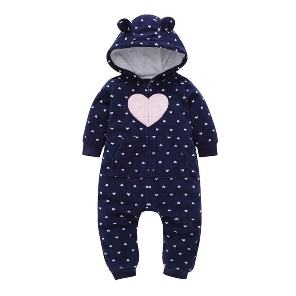 LHWY Infant Sweatshirt Onesie Baby Boys Girls Fleece Thicker Hearts Hooded Romper Jumpsuit Outfits Zipper Jacket