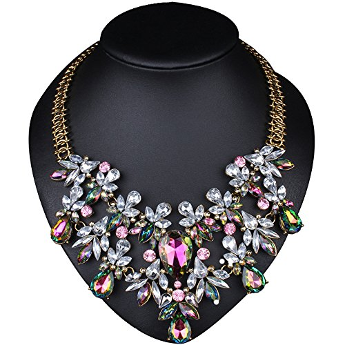 [Girl Era Europe Vintage Costume Jewelry Multi-Crystal Bib Temperament Necklace] (Costumes Jewelry Online)
