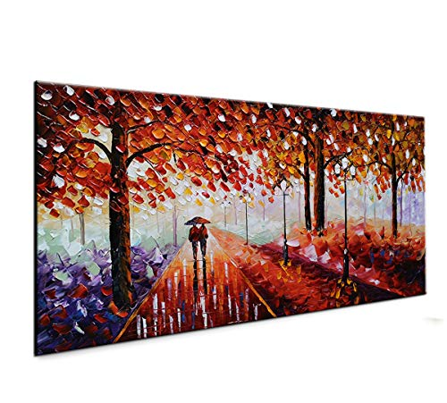 baccow Landscape Oil Paintings on Canvas 2448, 3D Handmade Abstract Contemporary Art Framed Wall Art for Living Room Bedroom Office Home Decoration Gifts Ready to Hang
