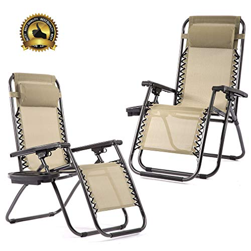 Zero Gravity Chairs Set of 2 with Pillow and Cup Holder Patio Outdoor Adjustable Dining Reclining Folding Chairs for Deck Patio Beach Yard (Lounge Target Chair Folding)