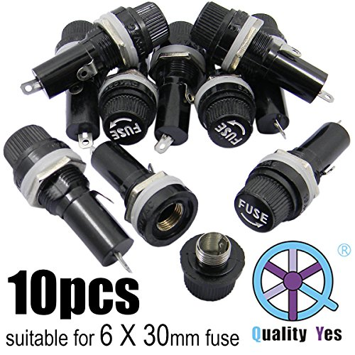 - QY 10PCS Black AC 125V/15A 250V/10A Electrical Panel Mounted 6 X 30mm Fuse Holder Glass Fuse Tube Protector For Radio Auto Stereo