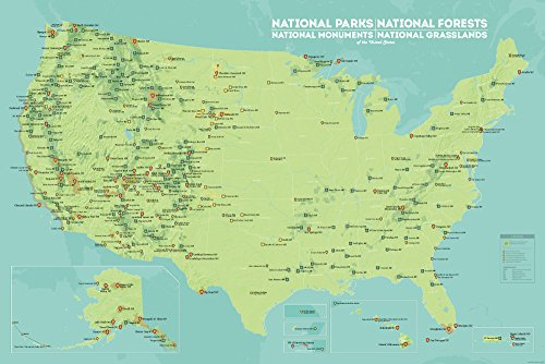 USA National Parks, Monuments & Forests Map 24x36 Poster