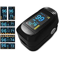 Fingertip Pulse Oximeter Blood Oxygen Sensor,Blood Oxygen Meter,Oxygen Meter Portable Digital Blood Oxygen FDA Approved Pulse Sensor Meter with Alarm and Pulse Rate Monitor for Adults and Children