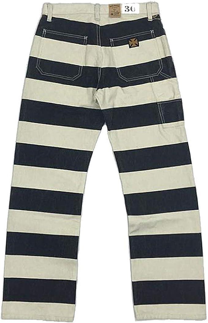 Victorian Men's Pants – Victorian Steampunk Men's Clothing Vintage 16oz Prison Motorcycle Striped Pants for Men Biker Trousers $132.99 AT vintagedancer.com