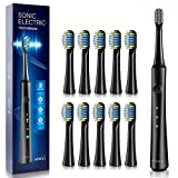 ATMOKO Electric Toothbrushes for Adults with 10 Duponts Brush Heads, 40,000 VPM, Fast Charge 2.5 Hr Charge Last 35 Days Whitening Power Sonic Rechargeable Clean Toothbrushes Dentists Recommend - HP141 (Color: Upgrade Black)