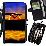 RenCase / Flip Wallet Diary PU Leather Case Cover With Card Slot for Samsung Galaxy S7 Edge SM-G935 - The African Safari Sunset